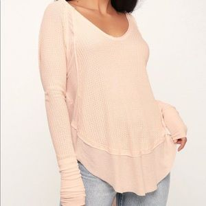 FREE PEOPLE CATALINA PEACH SILK THERMAL TOP L